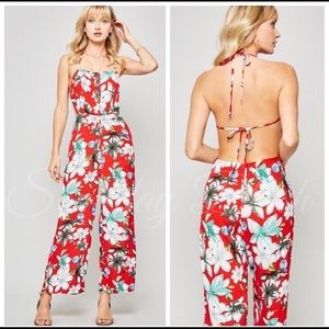 Red Floral halter backless jumpsuit